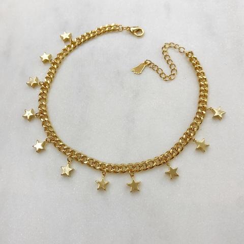 Анклет на панцирной цепи со звездочками (золотистый)