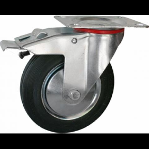 Колесная опора промышленная поворотная с тормозом d3″ 75мм(054)