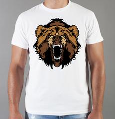 Футболка с принтом Медведь, Медвежонок (Bear) белая 003