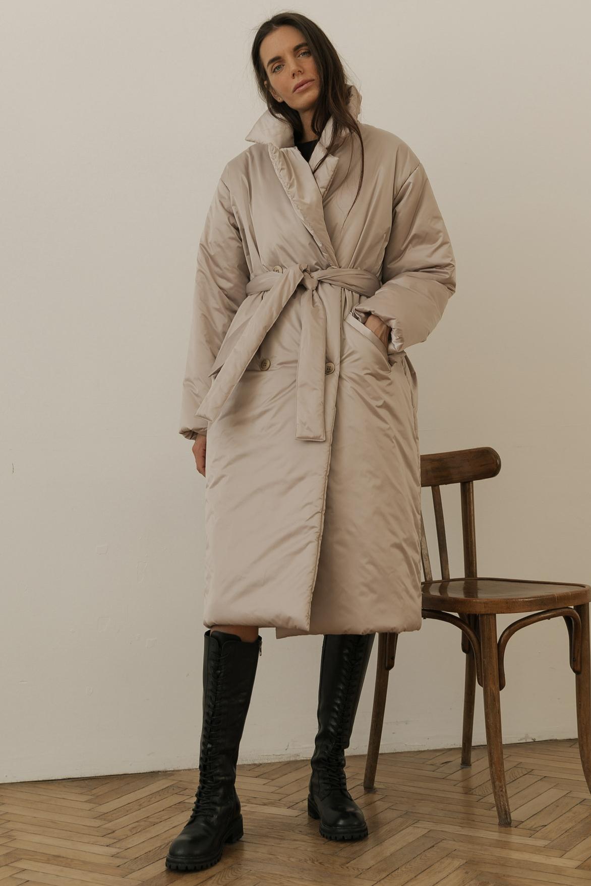 Пальто с поясом, светло-бежевый