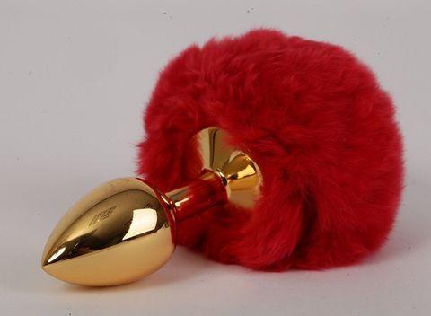 Золотистая анальная пробка c пушистым красным хвостом