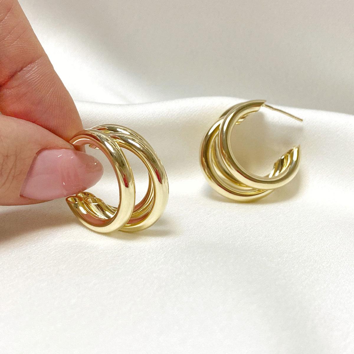 Серьги-конго тройные незамкнутые 2,5 см (золотистый) ш925