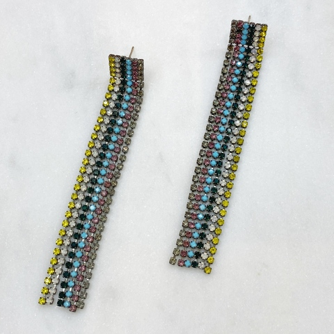 Серьги каскадные Цветные Дорожки (желтый, голубой)