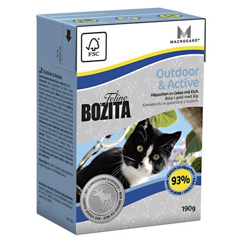 Bozita Feline Funktion Outdoor & Active Tetra Pak Консервы для активных кошек с мясом лося, кусочки в желе