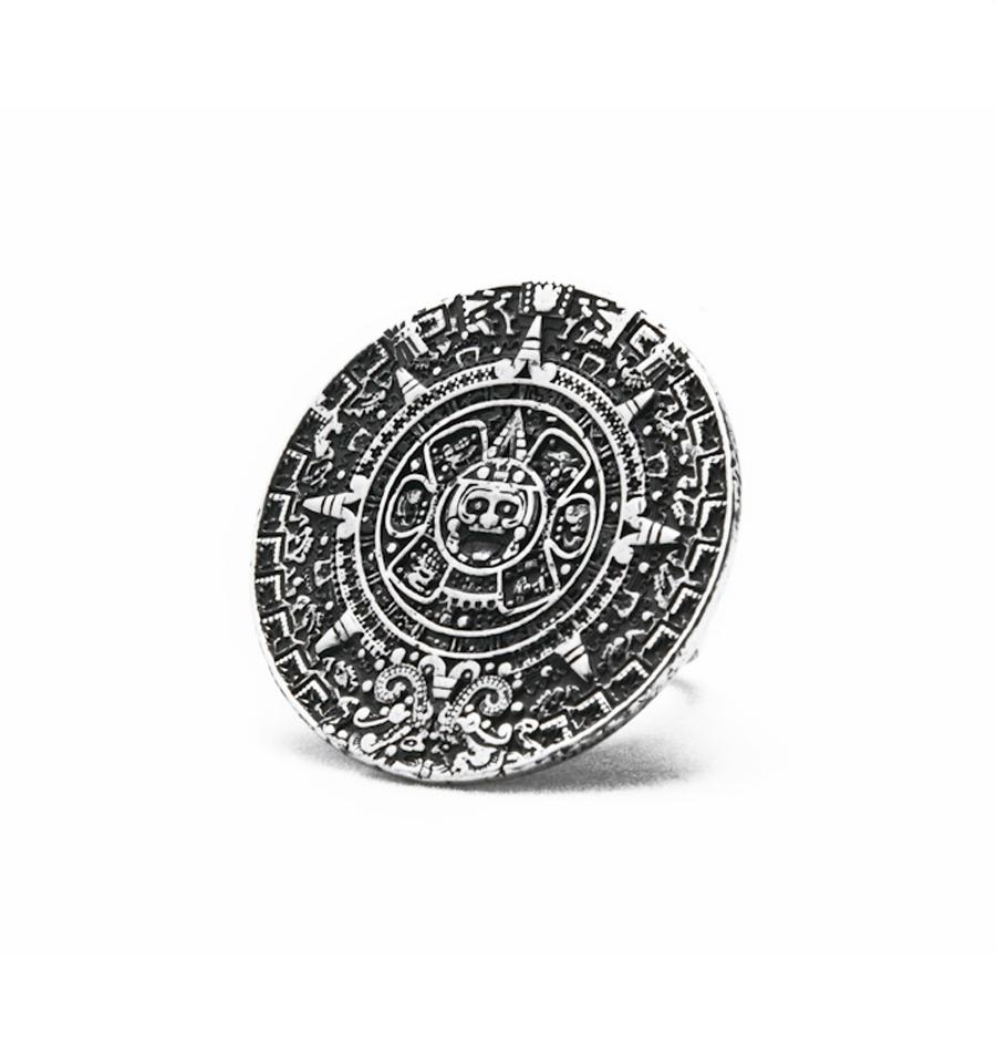 Mayan calendar ring, 27 mm, sterling silver