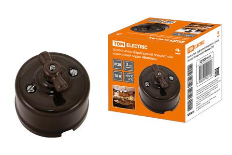 Выключатель фарфоровый поворотный с ручкой (бантик) 10А коричневый «Болонь» TDM