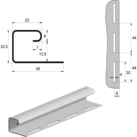 Профиль J 3,00 Grand Line белый