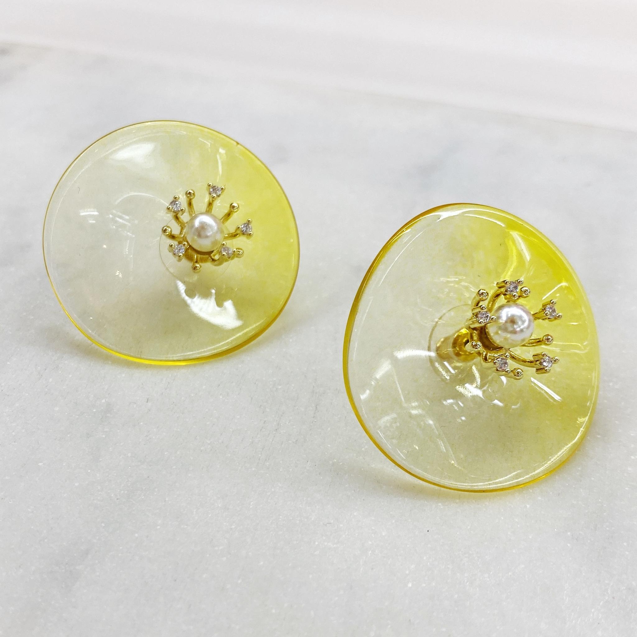 Серьги-кластеры из акрила Цветы (желтый)