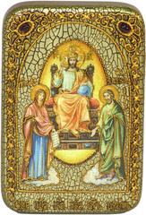 Инкрустированная икона Царь Царей 15х10см на натуральном дереве, в подарочной коробке