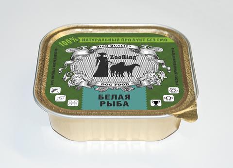 ЗООРИНГ Корм консервированный полнорационный для собак (паштет) Белая рыба 1,6 кг.
