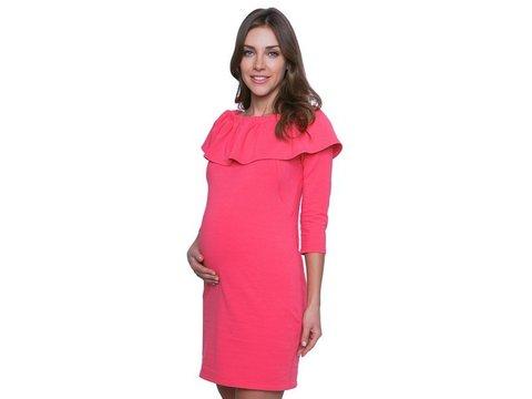 Платье Lo-Lo с воланом для беременных и кормящих мам коралловый, р.42-44