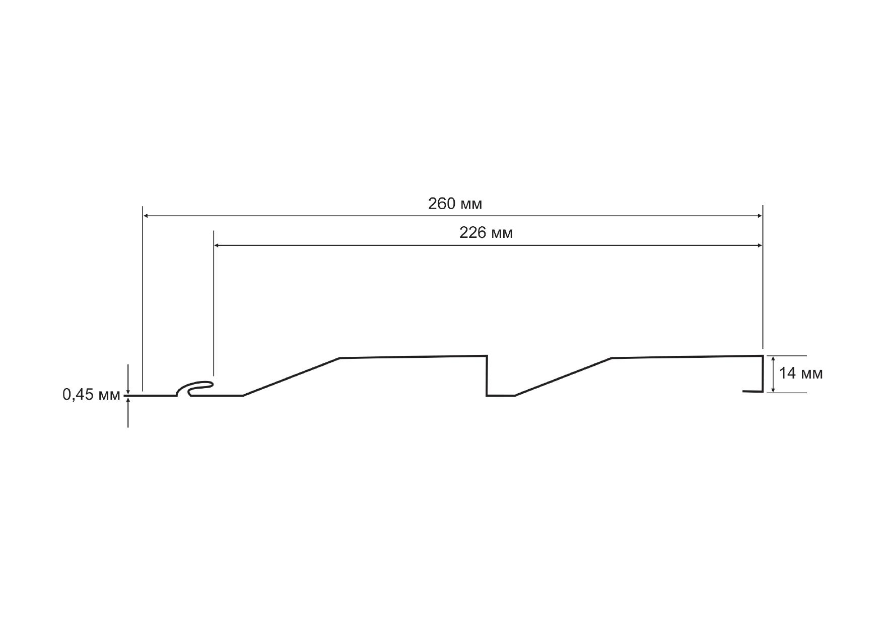 Металлический сайдинг «Корабельная доска», полиэстер глянцевый