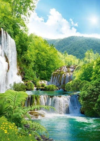 Каскад водопадов 194x272 см, премиум