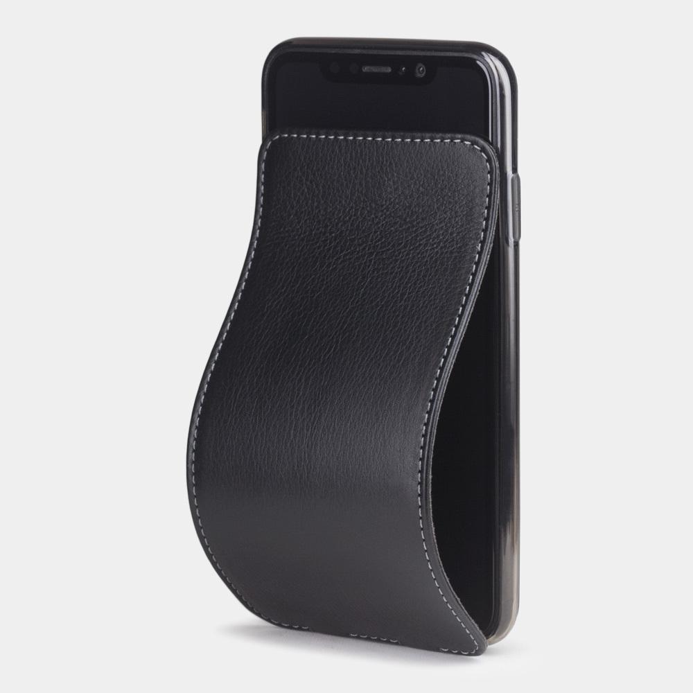 Чехол для iPhone XS Max из натуральной кожи теленка, черного цвета