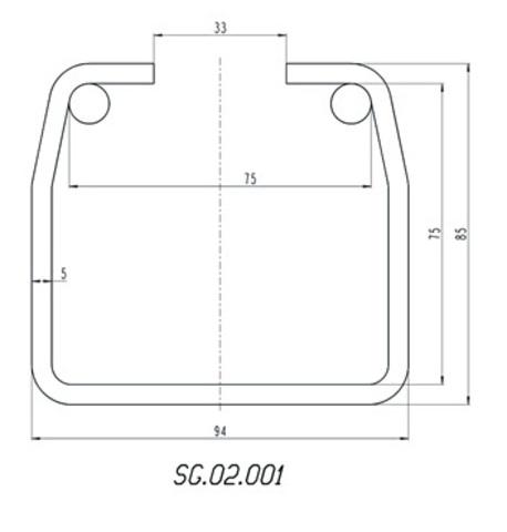 Шина направляющая Alutech до 750 кг. из не оцинкованной стали