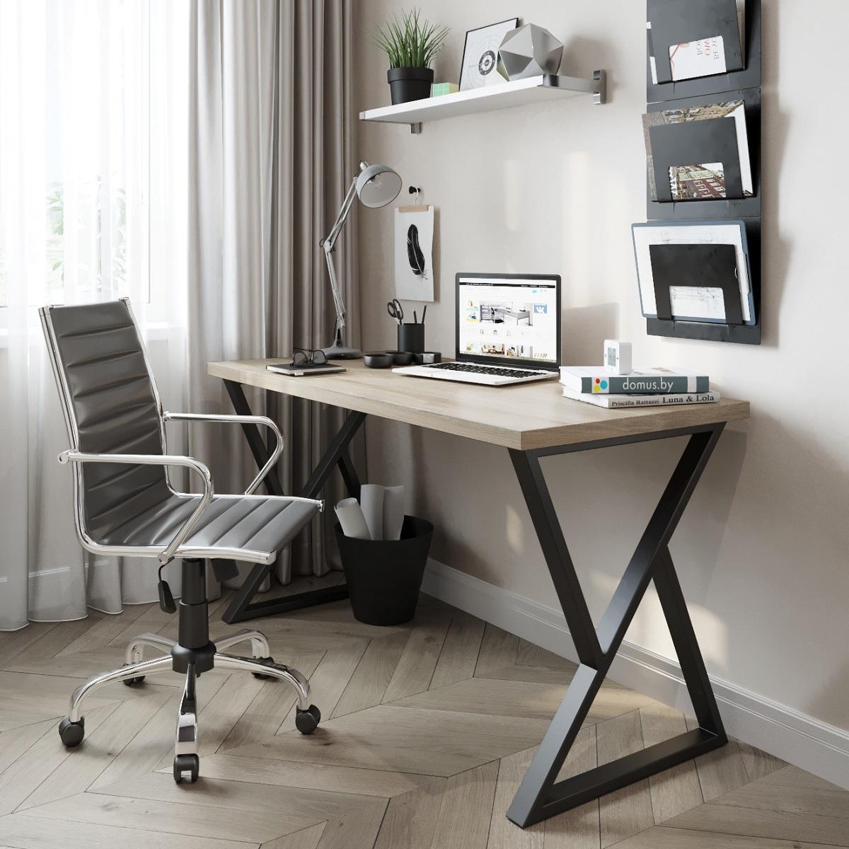 Письменный стол ДОМУС СП014 вяз светлый/металл черный