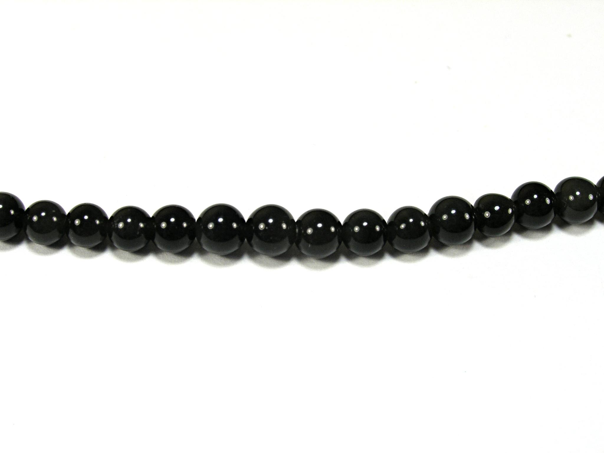 Бусина из обсидиана черного, шар гладкий 4мм