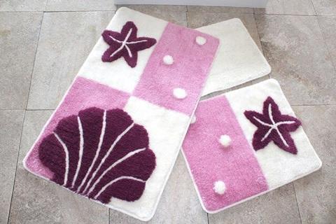 Комплект ковриков для ванной и туалета ЗВЕЗДА, лиловый