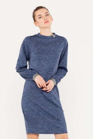 Фото синее платье-толстовка с втачными рукавами и контрастными манжетами - Платье З399-827 (1)