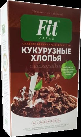 Готовый завтрак Fit Parad Кукурузные шоколадные со стевией, коробка 200 г