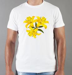 Футболка с принтом Цветы (Лилии) белая 008