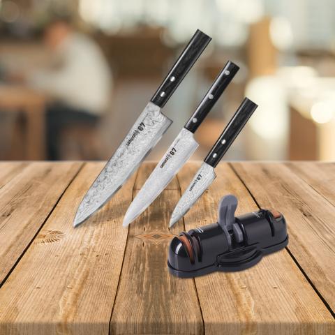 Набор из 3 кухонных ножей Samura 67 Damascus и точилки KSS-3000