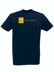 Футболка с принтом Рено (Renault) темно-синяя 001
