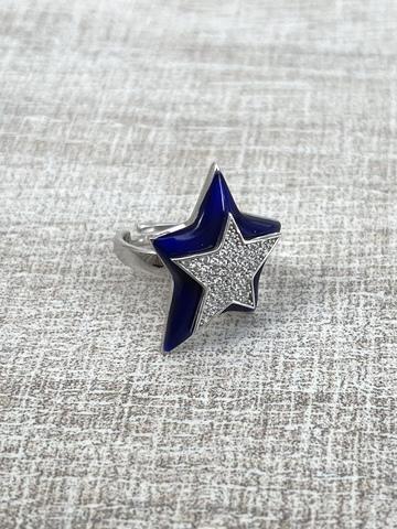 Кольцо Звезда темно-синее, серебро