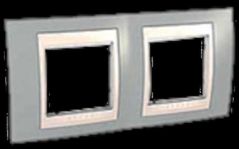 Рамка на 2 поста. Цвет Серый/Бежевый. Schneider electric Unica Хамелеон. MGU6.004.565