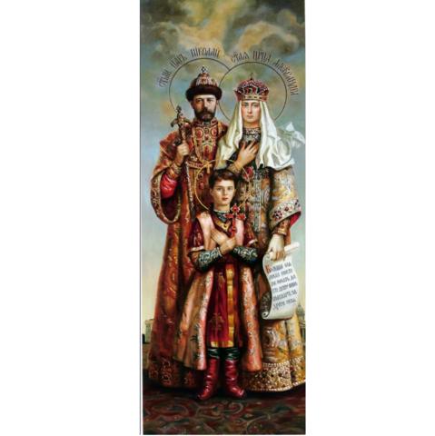 Икона святые Царственные мученики: Николай, Александра и цесаревич Алексей на дереве на левкасе мастерская Иконный Дом