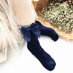 Бархатные женские носки с бантиком (гольфы) синие