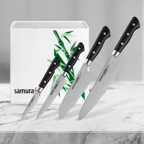 Набор из 4 кухонных ножей Samura PRO-S и подставки KBH-101BW