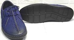 Синие мужские туфли мокасины мужские летние стиль смарт кэжуал Luciano Bellini 91268-S-321 Black Blue.