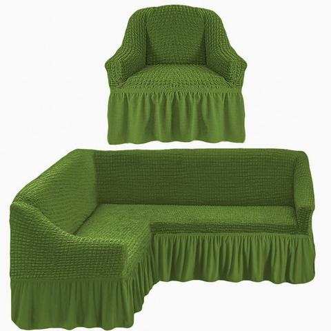 Чехол на угловой диван и кресло, изумруд