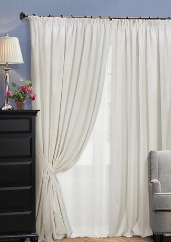 Комплект штор из двухстороннего жаккарда с тюлем Домино белый
