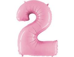 Г 40''/102см, Цифра 2, Матовый розовый.
