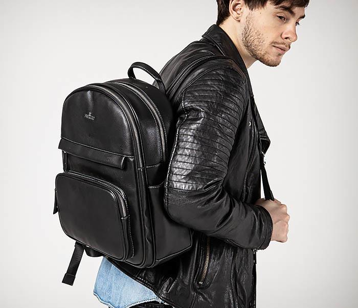 BAG523-1 Мужской рюкзак из гладкой черной кожи