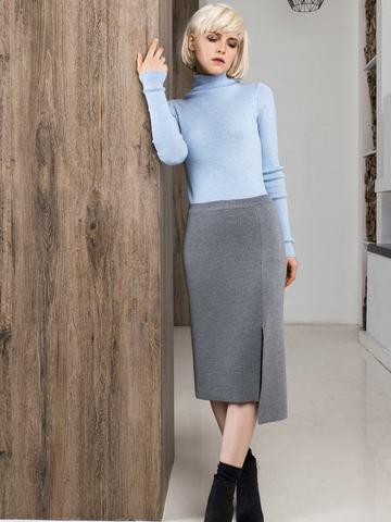 Асимметричная юбка прямого силуэта фактурной вязки - фото 8