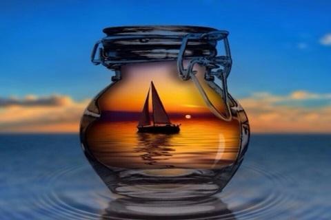 Алмазная Мозаика 40x50 Лодка в банке