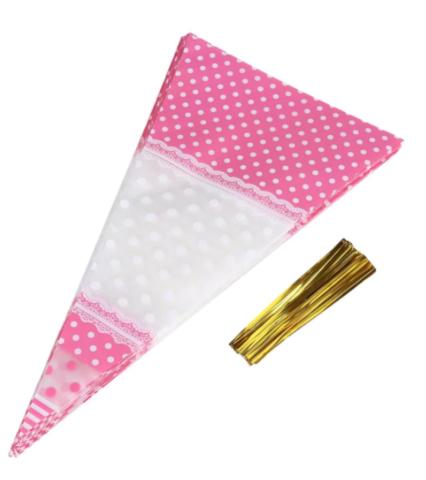 Пакет-конус розовый, 30*16см, 50шт