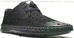 Летние мужские туфли спортивного стиля smart casual Luciano Bellini 91754-S-315 All Black.