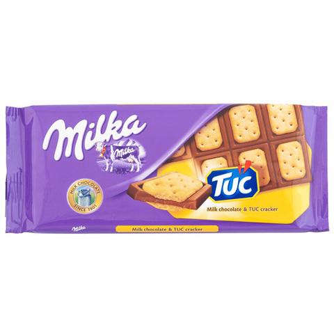 """Шоколад """"Milka"""" молочный с соленым крекером """"Tuc"""" 87г"""