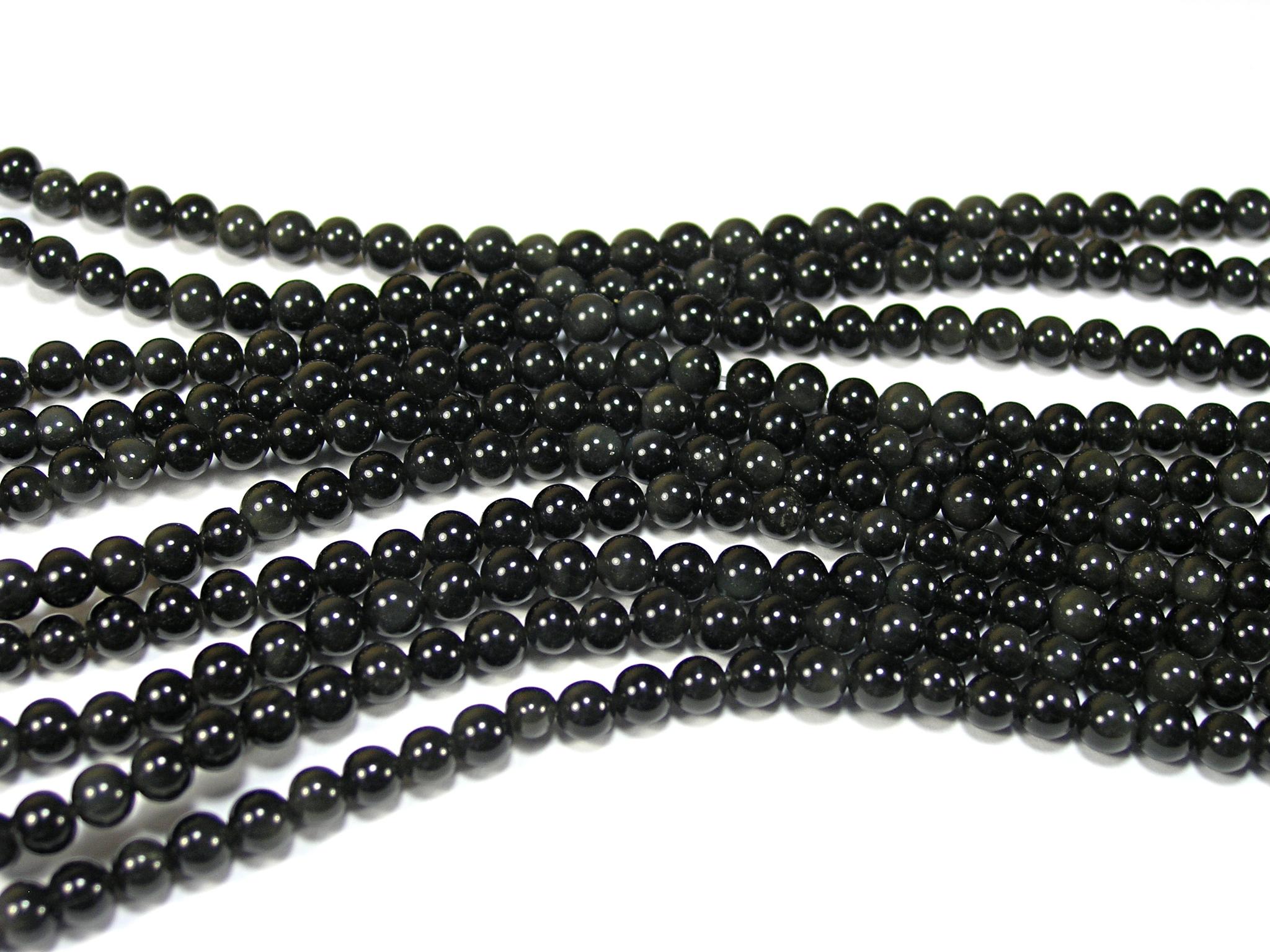 Нить бусин из обсидиана черного, шар гладкий 4мм