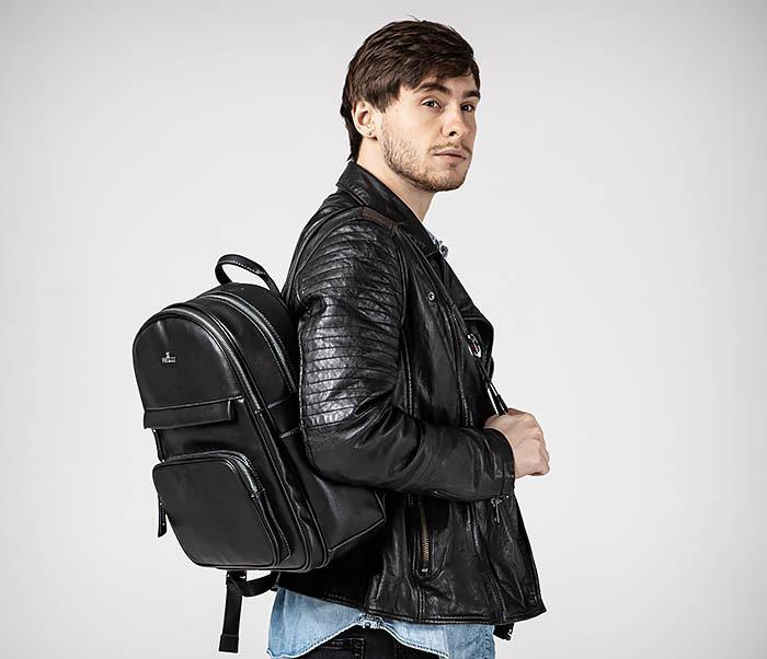 BAG523-1 Мужской рюкзак из гладкой черной кожи фото 03