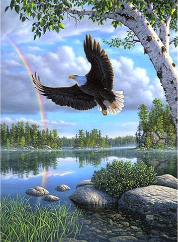 Алмазная Мозаика 40x50 Орел пролетает над рекой (арт. 2PAV739)