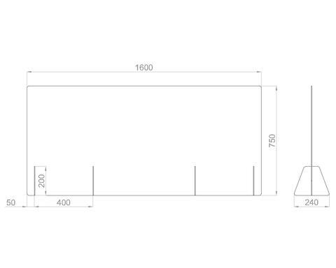 Настольный экран Ш.1600 мм, В.600/750мм