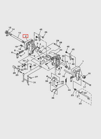 Скоба струбцины правая  для лодочного мотора T15, OTH 9,9 SEA-PRO (13-2)