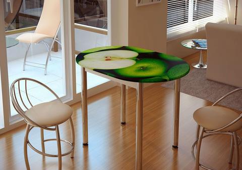 Стол обеденный с принтом Зеленое яблоко БТС Белый/зеленое яблоко