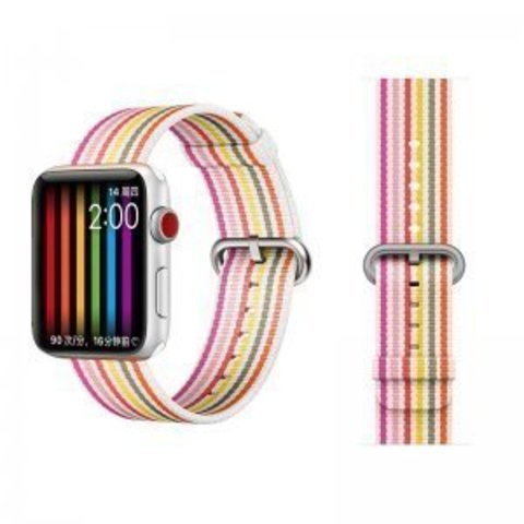 Ремешок COTEetCI W30 Nylon Rainbow Band (WH5251) для Apple Watch 38мм/ 40мм Бело-Розовый
