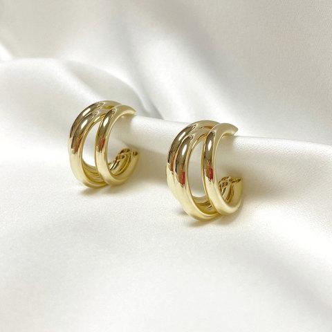 Серьги тройные кольца незамкнутые средние золотистые ш925